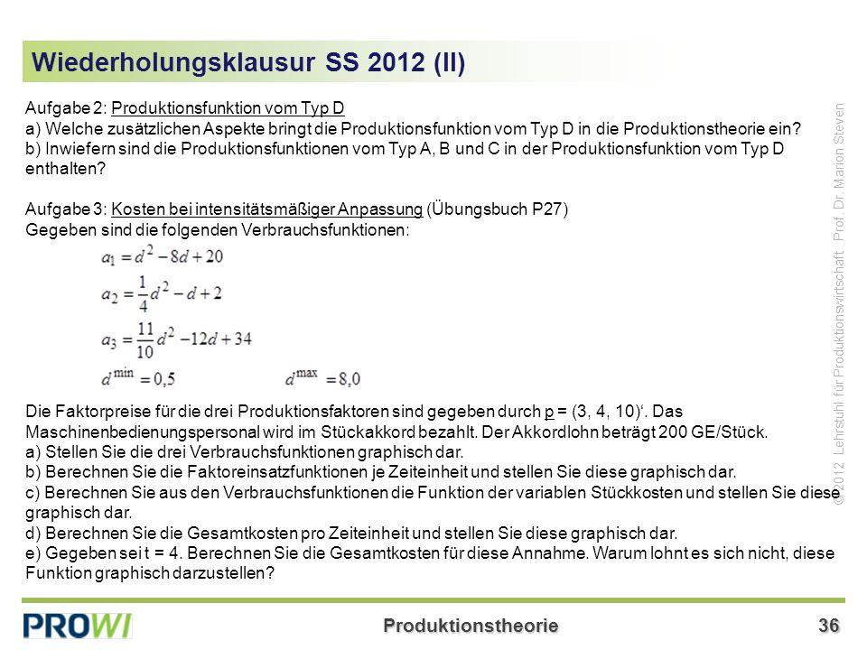 Wiederholungsklausur SS 2012 (II)