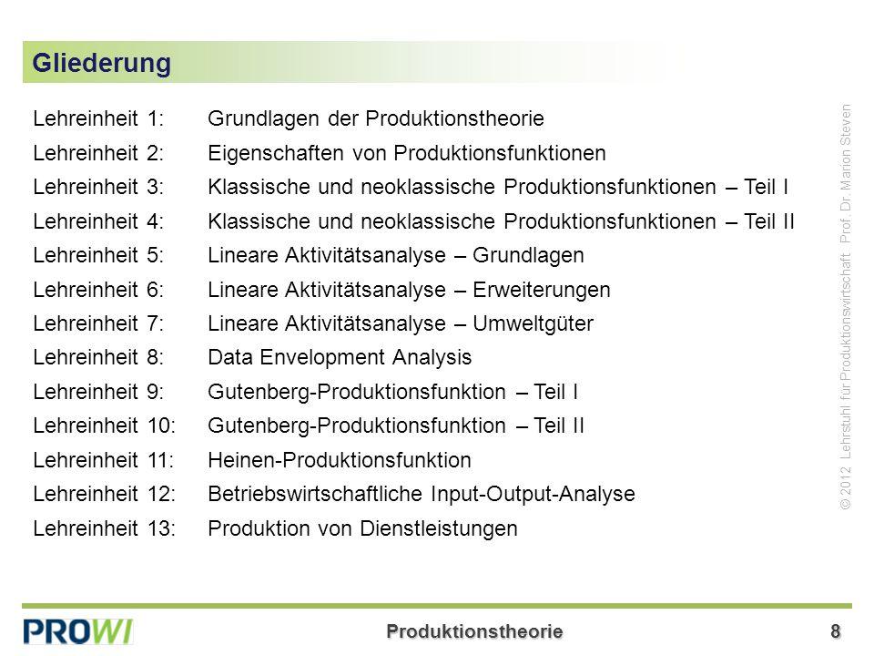 Gliederung Lehreinheit 1: Grundlagen der Produktionstheorie