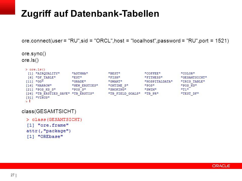 Zugriff auf Datenbank-Tabellen