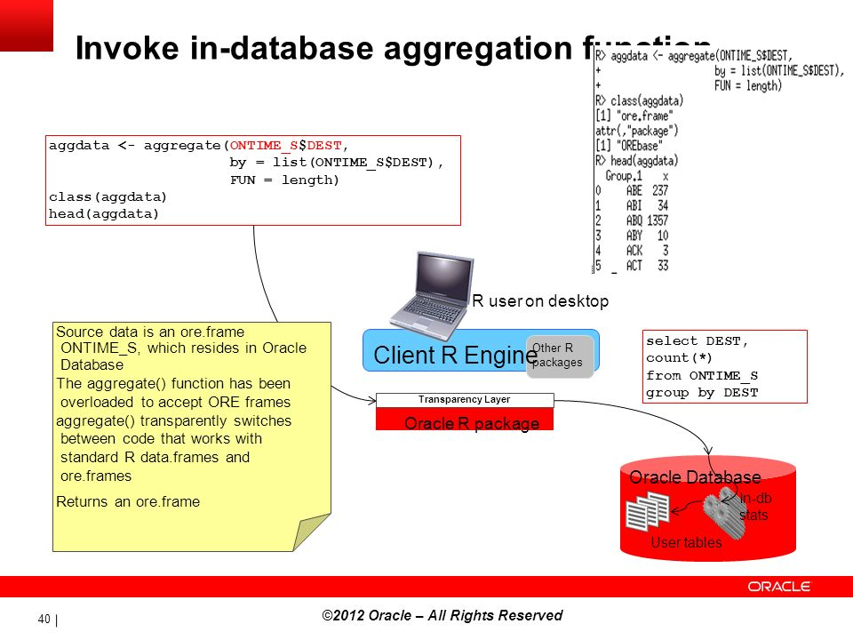 Invoke in-database aggregation function