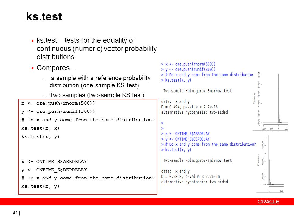 ks.test ks.test – tests for the equality of continuous (numeric) vector probability distributions.