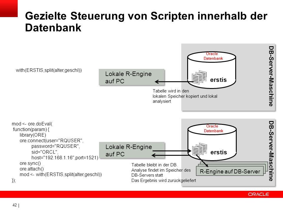 Gezielte Steuerung von Scripten innerhalb der Datenbank