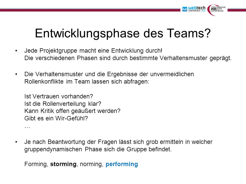 Entwicklungsphase des Teams