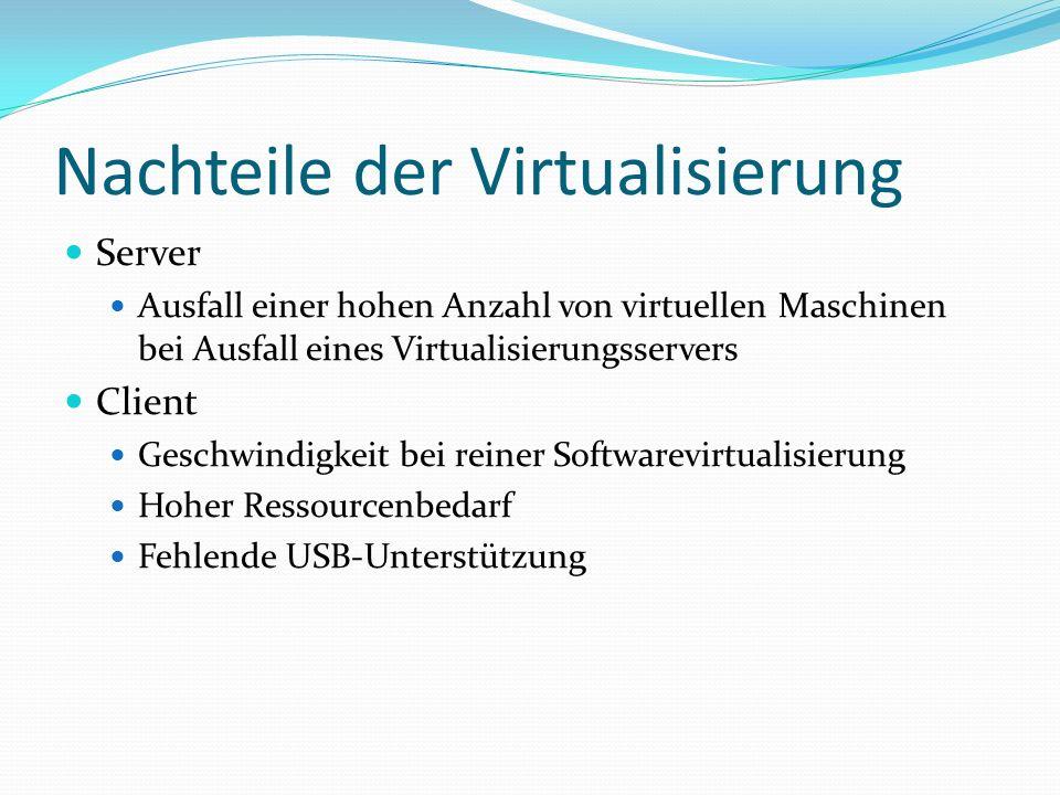 Nachteile der Virtualisierung