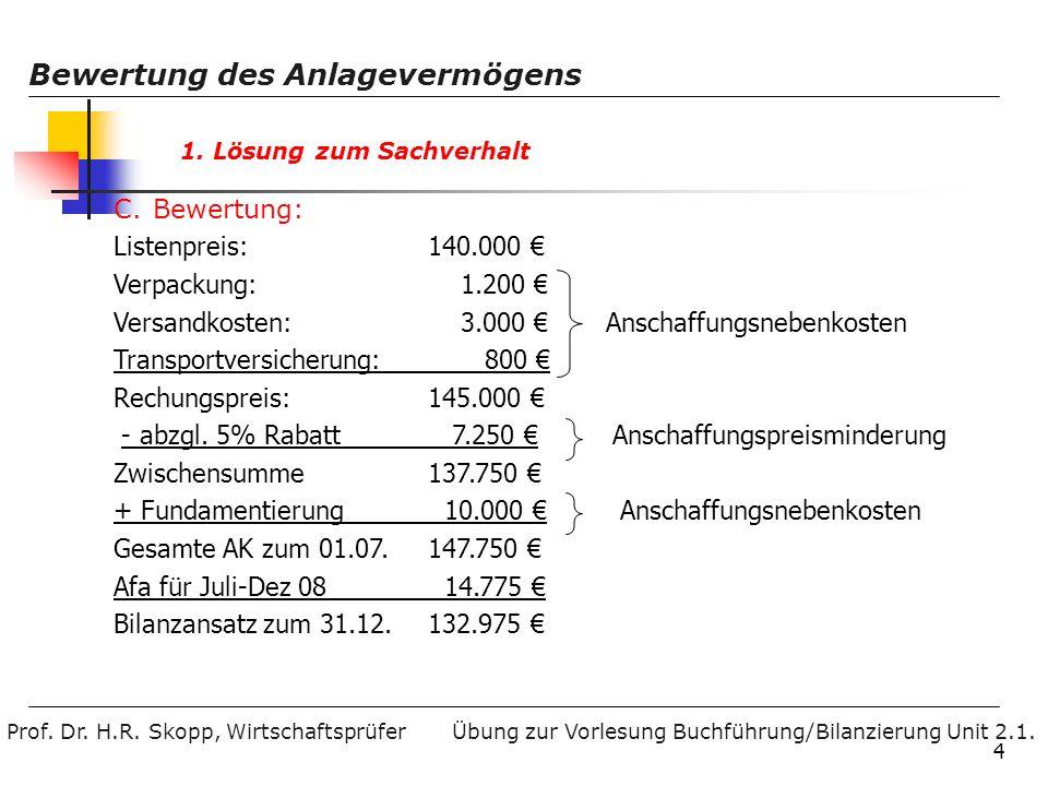 Versandkosten: 3.000 € Anschaffungsnebenkosten