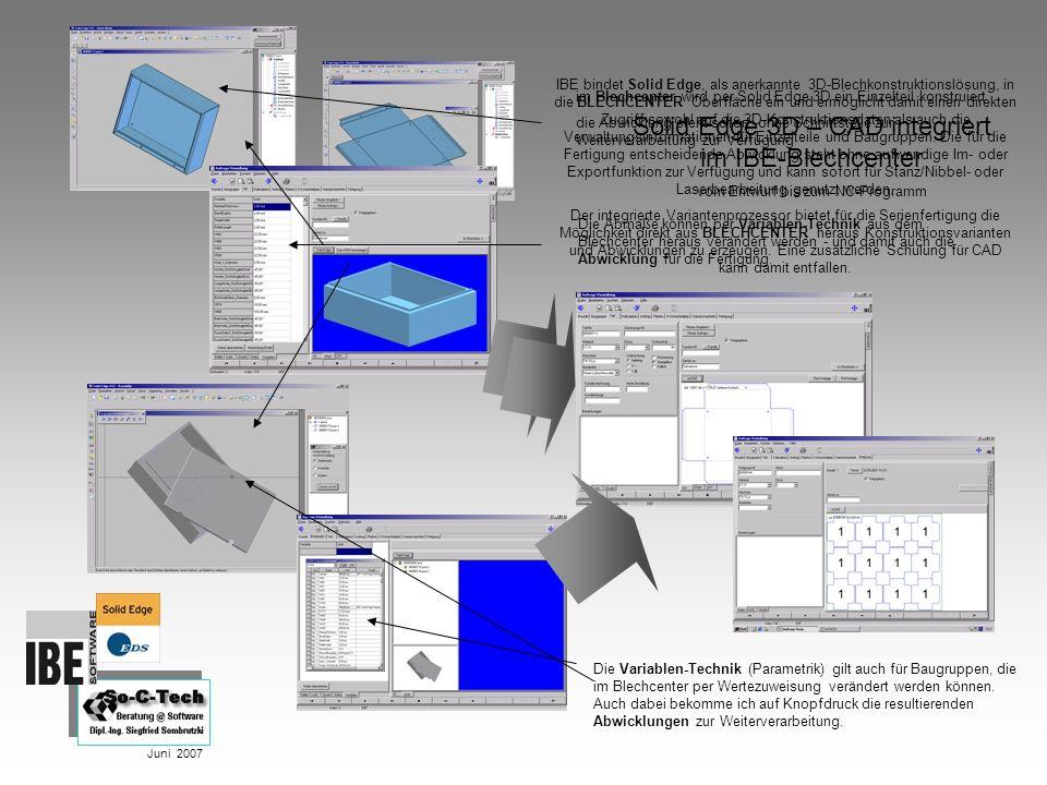 Solid Edge 3D – CAD integriert im IBE-Blechcenter