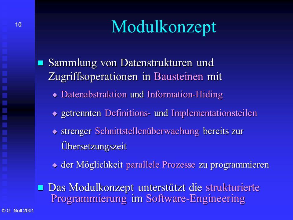 Modulkonzept Sammlung von Datenstrukturen und Zugriffsoperationen in Bausteinen mit. Datenabstraktion und Information-Hiding.