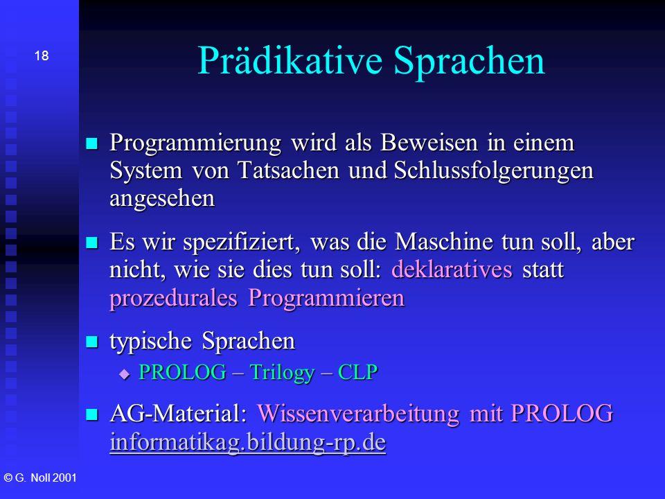 Prädikative Sprachen Programmierung wird als Beweisen in einem System von Tatsachen und Schlussfolgerungen angesehen.