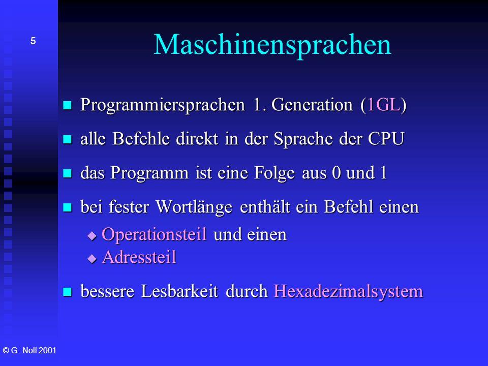 Maschinensprachen Programmiersprachen 1. Generation (1GL)