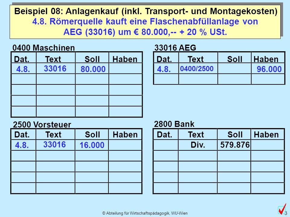 Beispiel 08: Anlagenkauf (inkl. Transport- und Montagekosten)