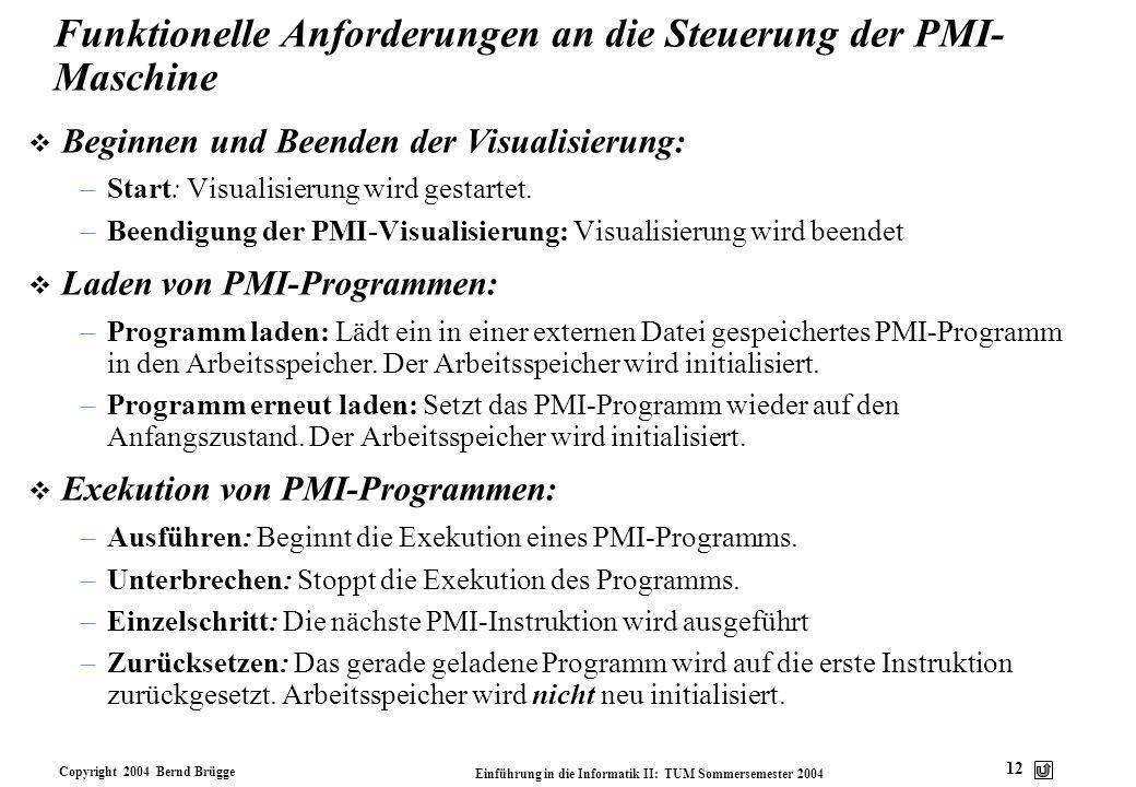 Funktionelle Anforderungen an die Steuerung der PMI-Maschine