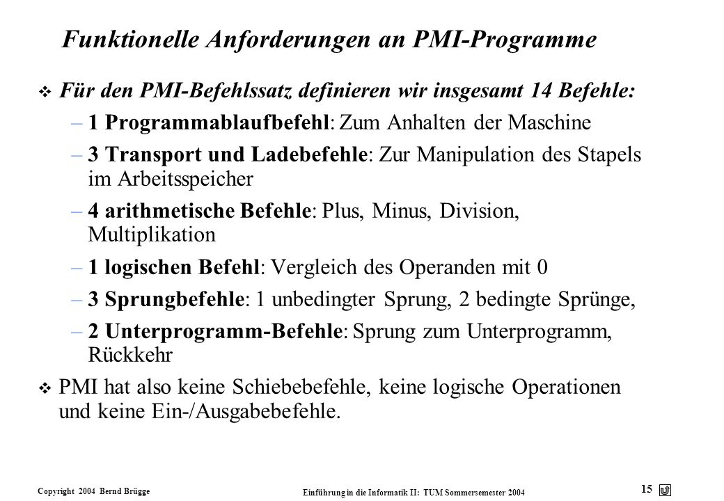 Funktionelle Anforderungen an PMI-Programme