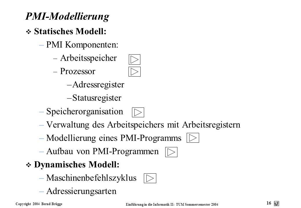 PMI-Modellierung Statisches Modell: PMI Komponenten: Arbeitsspeicher