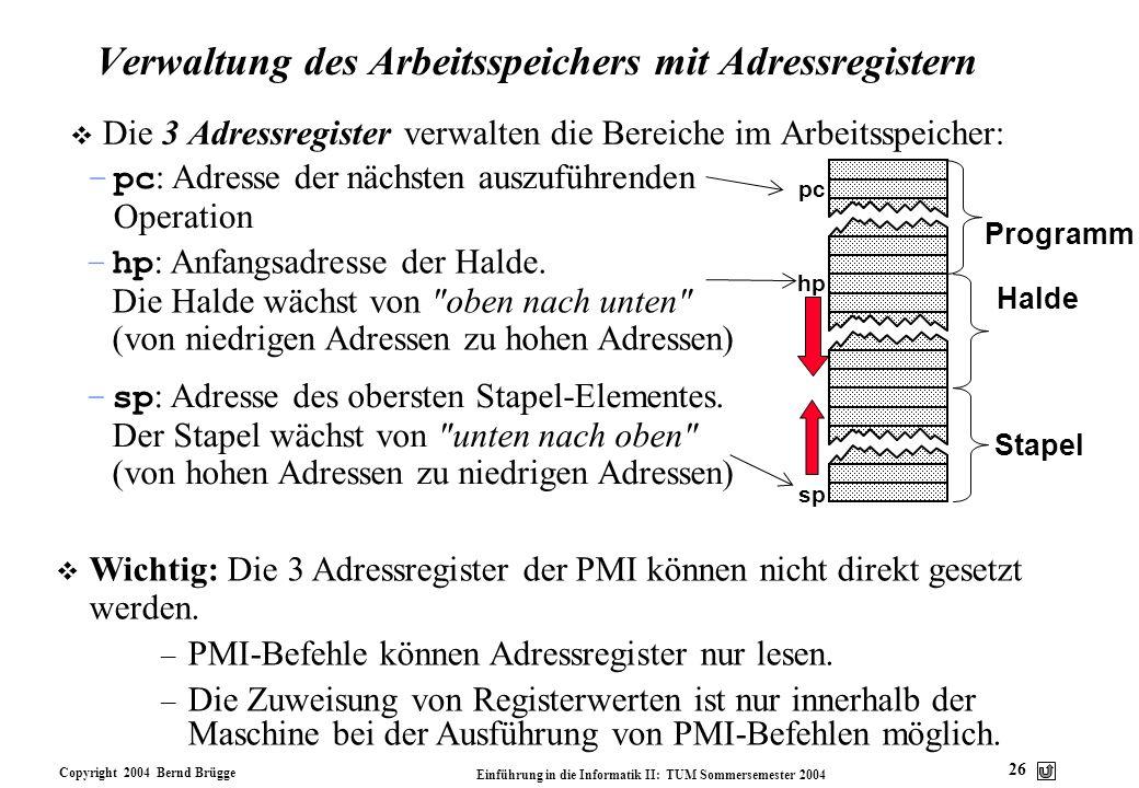 Verwaltung des Arbeitsspeichers mit Adressregistern