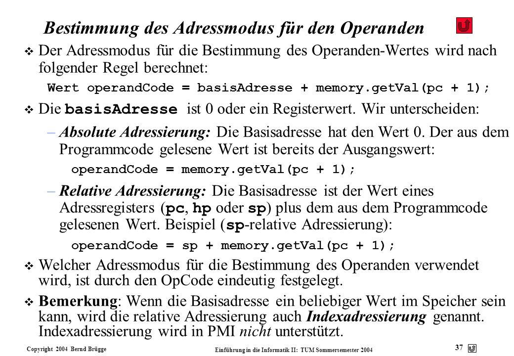Bestimmung des Adressmodus für den Operanden