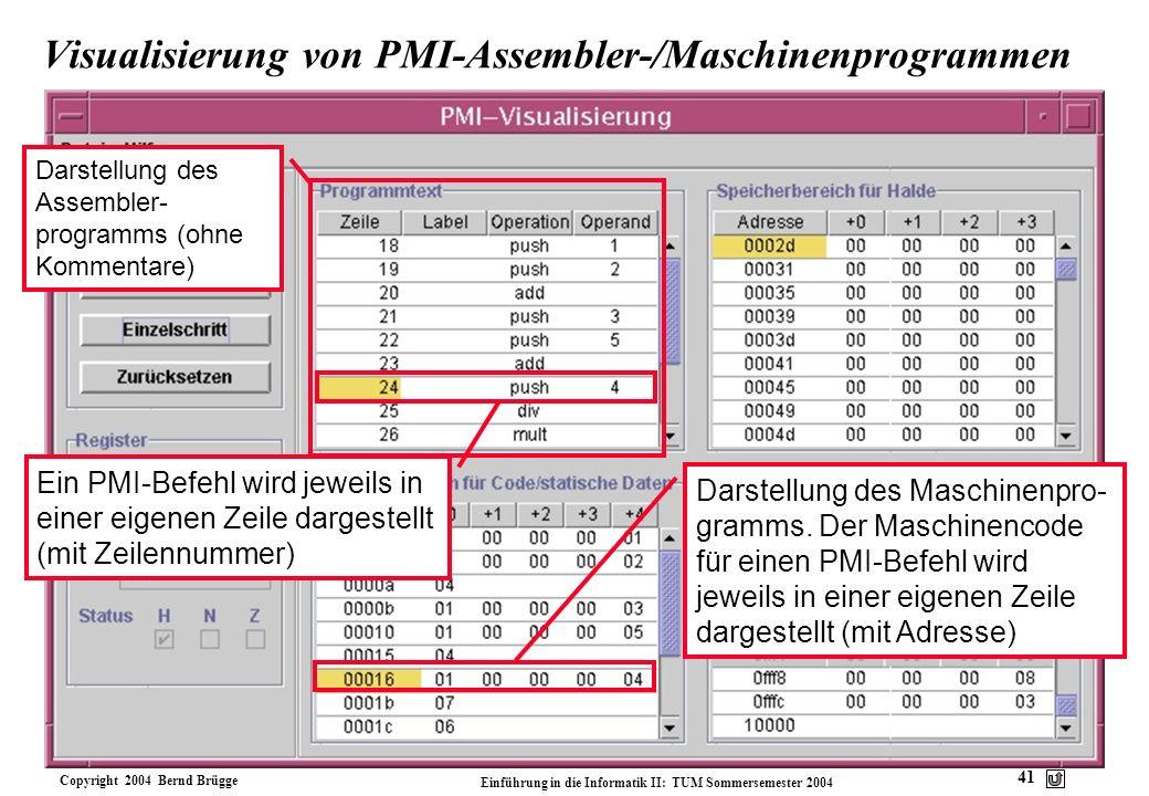 Visualisierung von PMI-Assembler-/Maschinenprogrammen