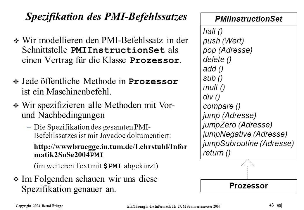 Spezifikation des PMI-Befehlssatzes