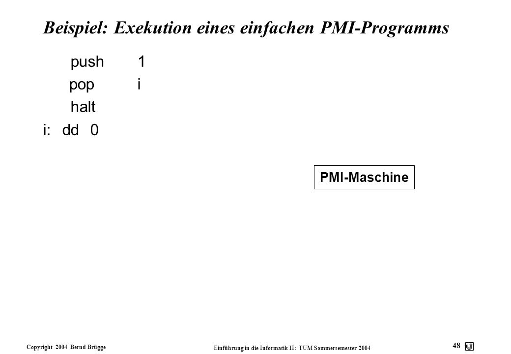 Beispiel: Exekution eines einfachen PMI-Programms
