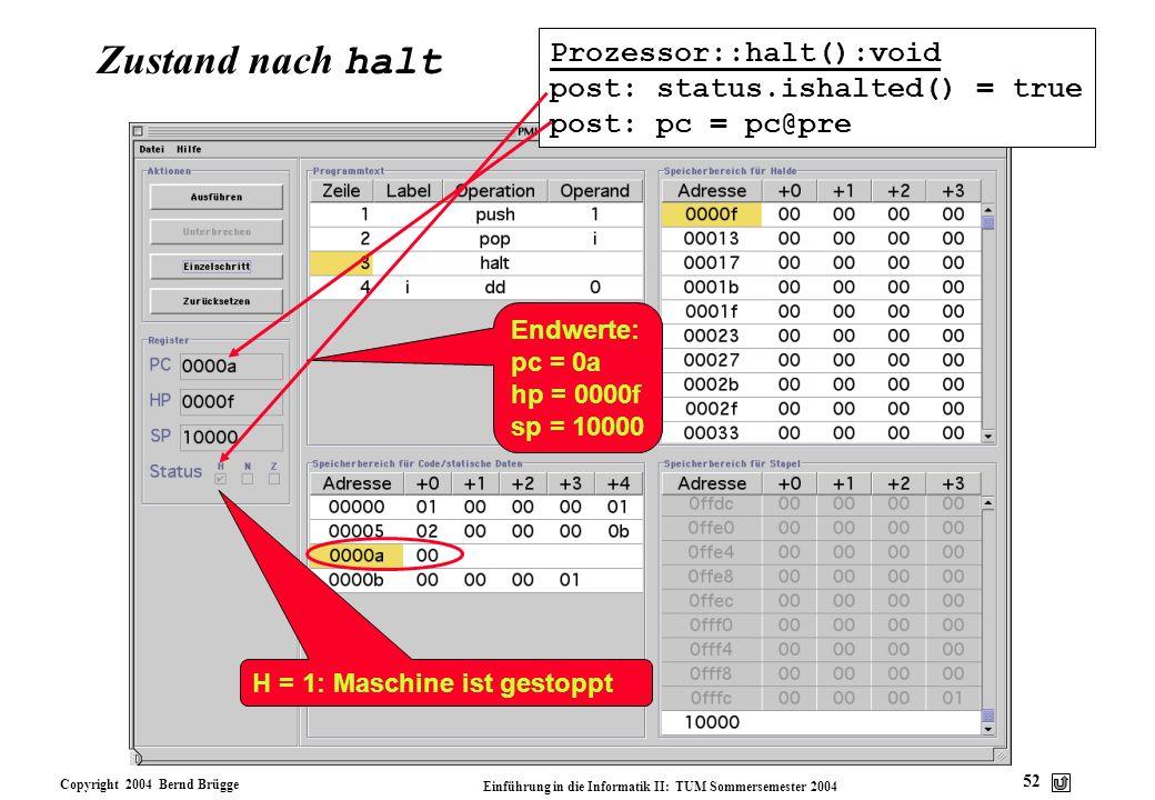 Zustand nach halt Prozessor::halt():void post: status.ishalted() = true post: pc = pc@pre. Endwerte: