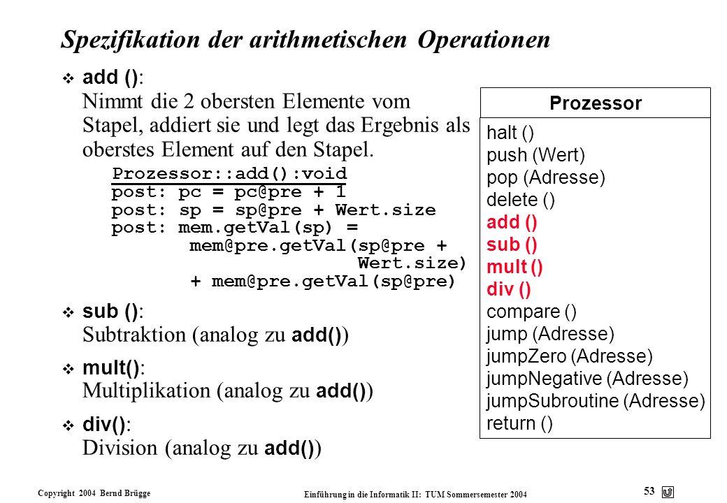 Spezifikation der arithmetischen Operationen