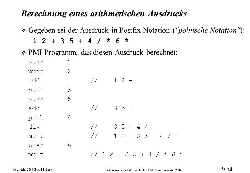 Berechnung eines arithmetischen Ausdrucks