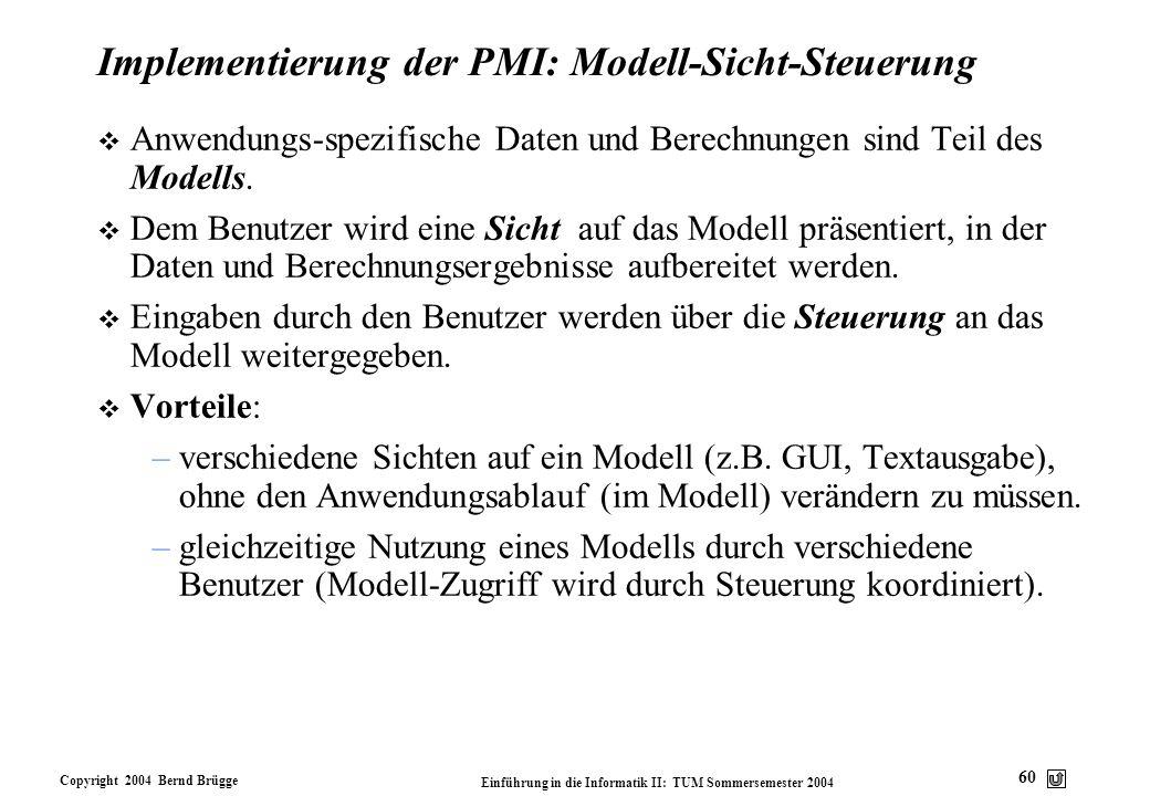 Implementierung der PMI: Modell-Sicht-Steuerung