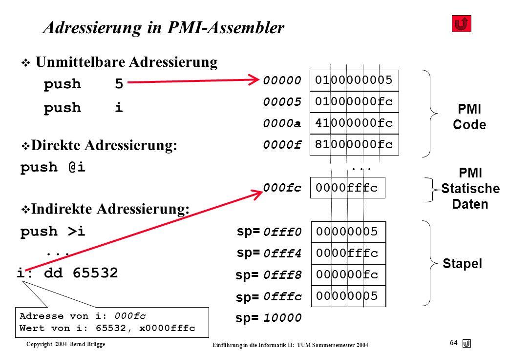 Adressierung in PMI-Assembler
