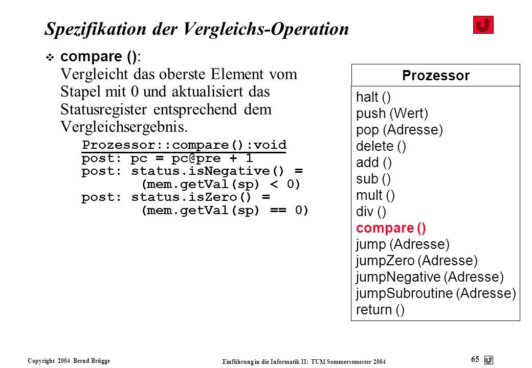 Spezifikation der Vergleichs-Operation