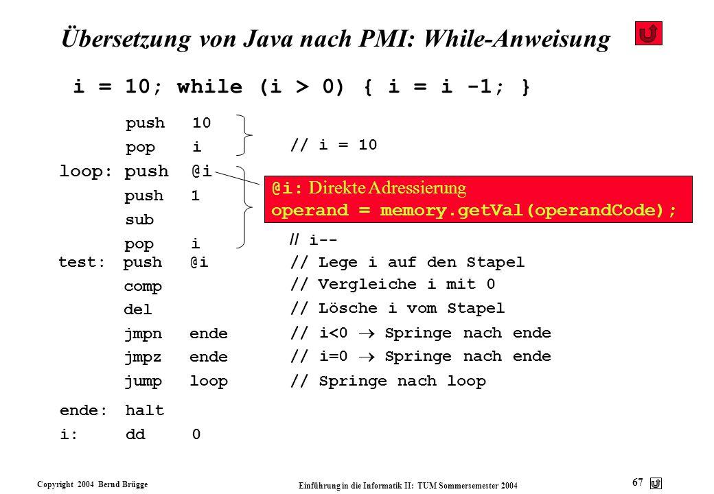 Übersetzung von Java nach PMI: While-Anweisung