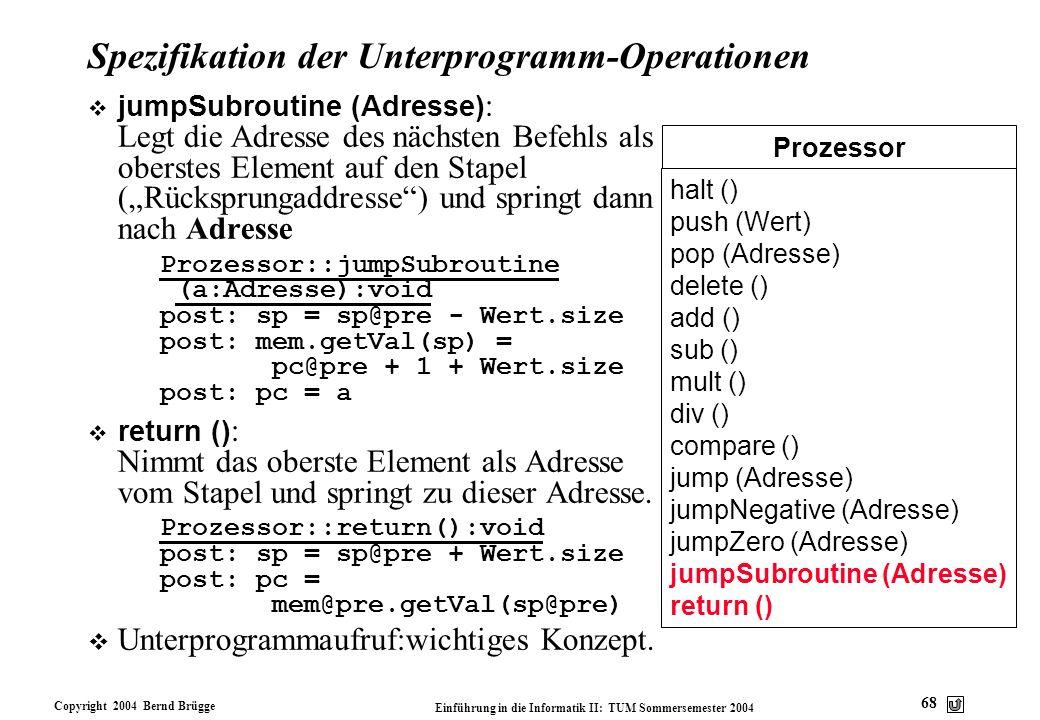 Spezifikation der Unterprogramm-Operationen