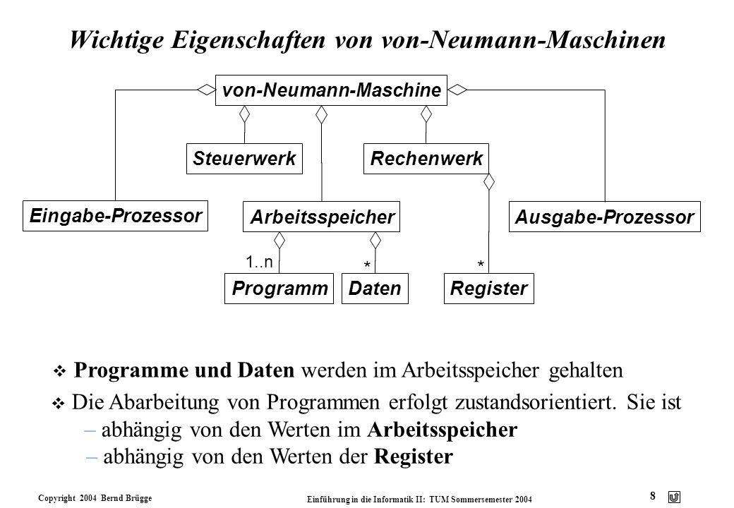 Wichtige Eigenschaften von von-Neumann-Maschinen
