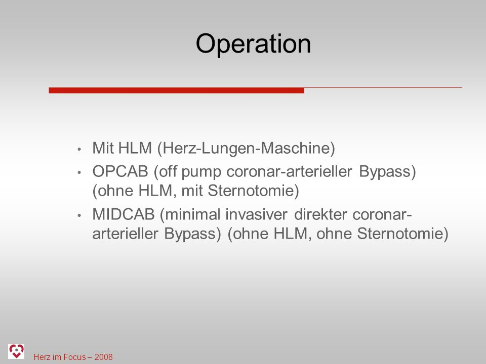 Operation Mit HLM (Herz-Lungen-Maschine)