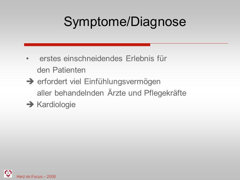 Symptome/Diagnose erstes einschneidendes Erlebnis für den Patienten