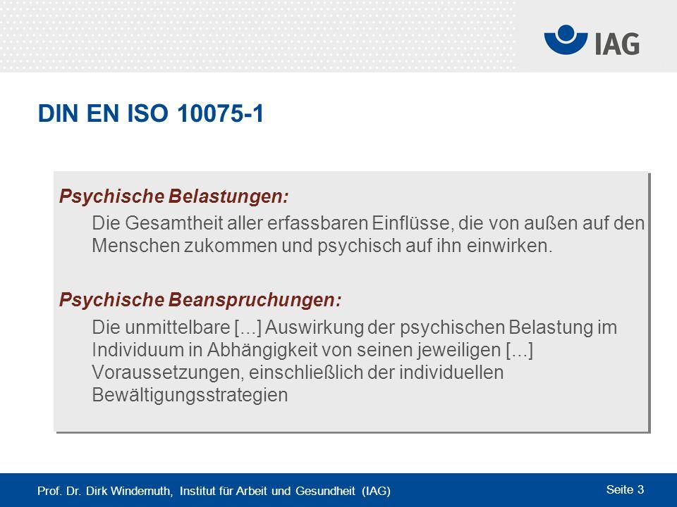 DIN EN ISO 10075-1 Psychische Belastungen: