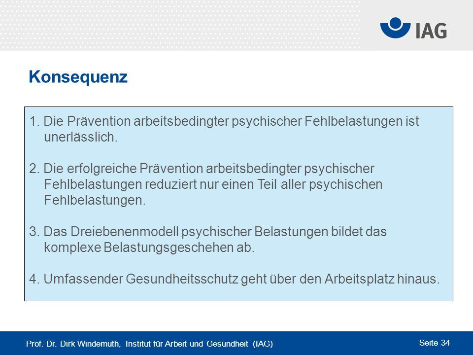 Konsequenz 1. Die Prävention arbeitsbedingter psychischer Fehlbelastungen ist. unerlässlich.
