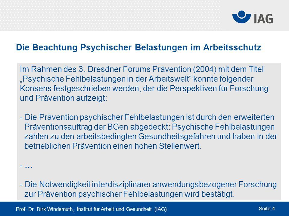 Die Beachtung Psychischer Belastungen im Arbeitsschutz