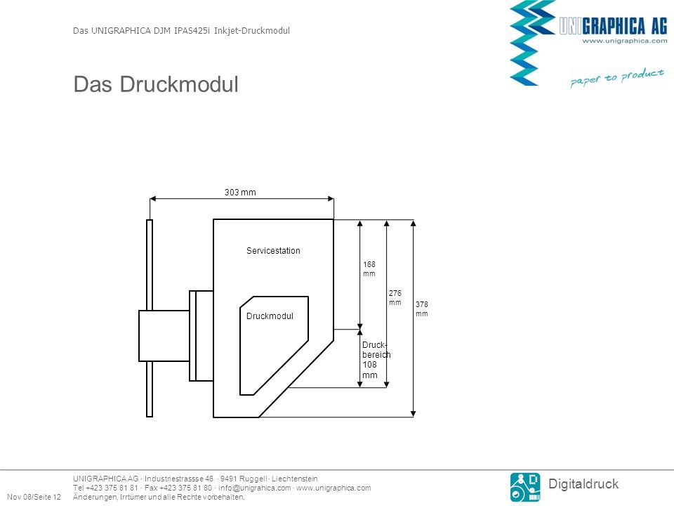 Das Druckmodul Das UNIGRAPHICA DJM IPAS425i Inkjet-Druckmodul 303 mm
