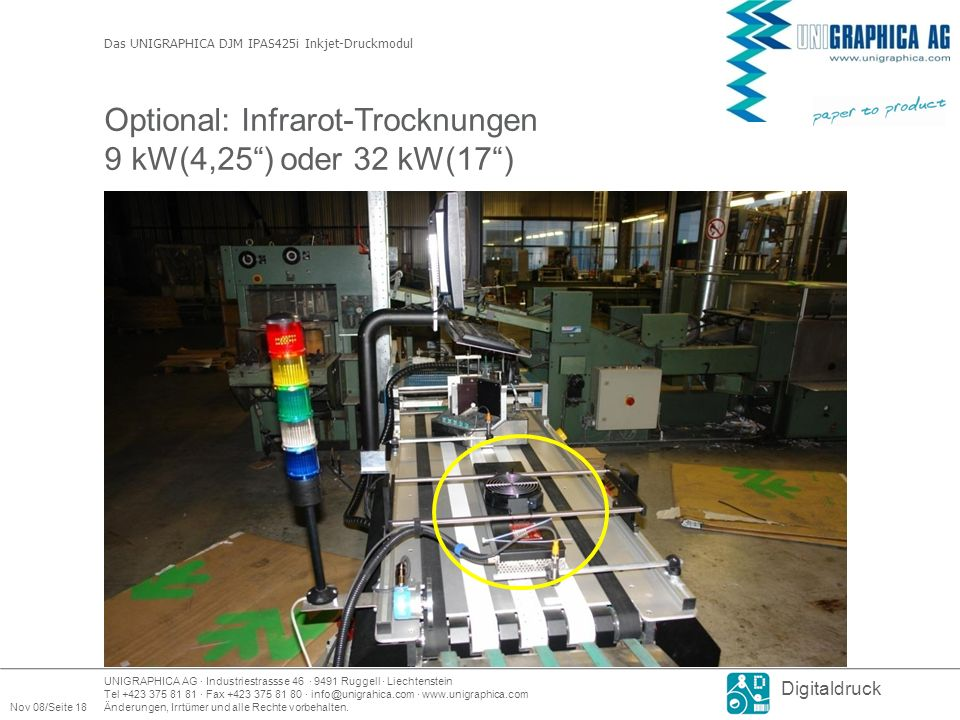 Optional: Infrarot-Trocknungen 9 kW(4,25 ) oder 32 kW(17 )