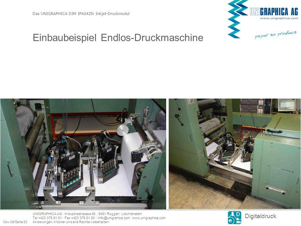Einbaubeispiel Endlos-Druckmaschine