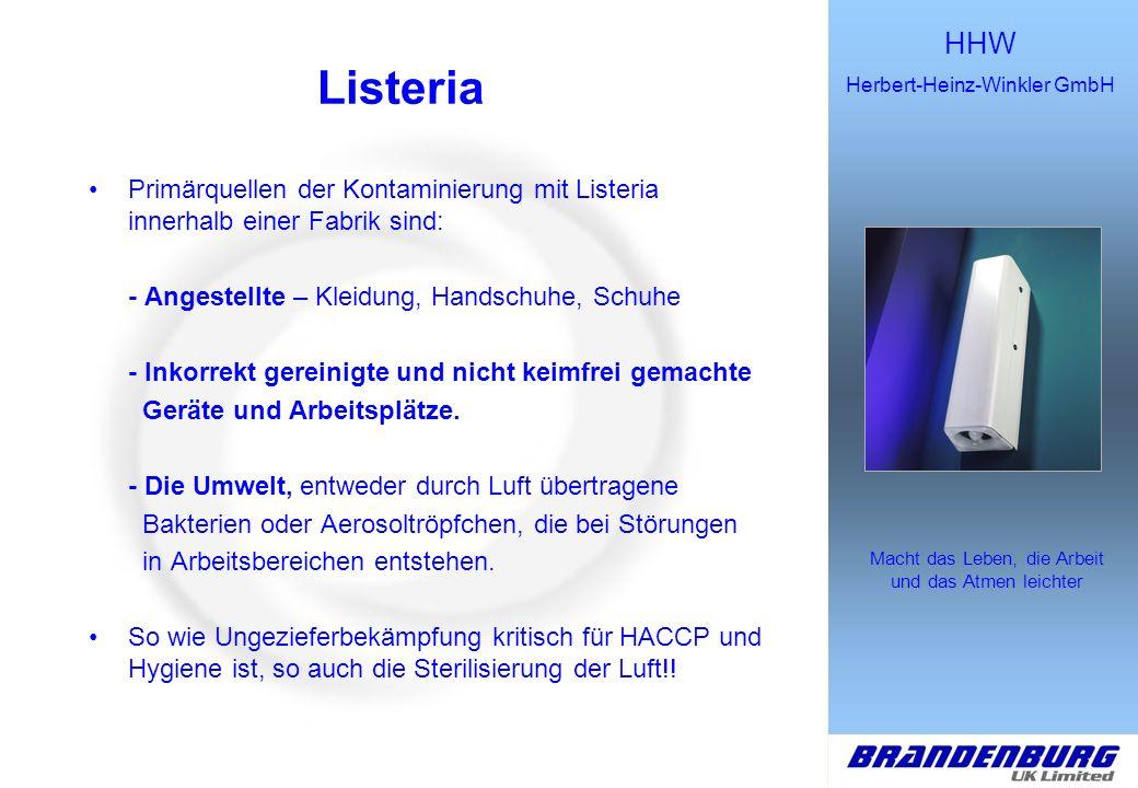 Listeria Primärquellen der Kontaminierung mit Listeria innerhalb einer Fabrik sind: - Angestellte – Kleidung, Handschuhe, Schuhe.