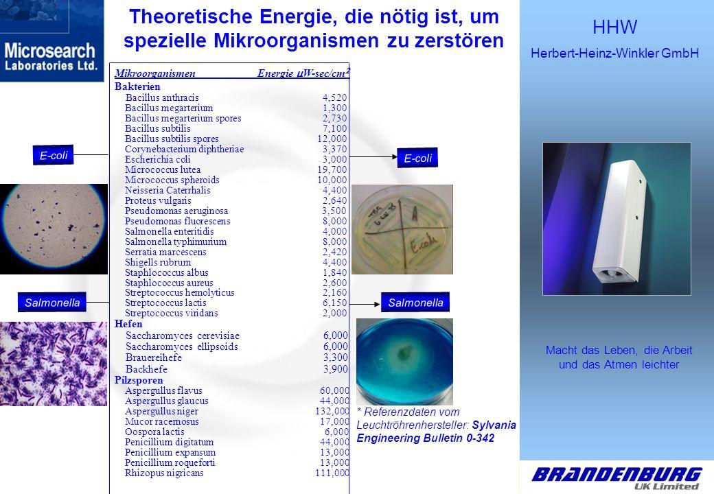 Theoretische Energie, die nötig ist, um spezielle Mikroorganismen zu zerstören