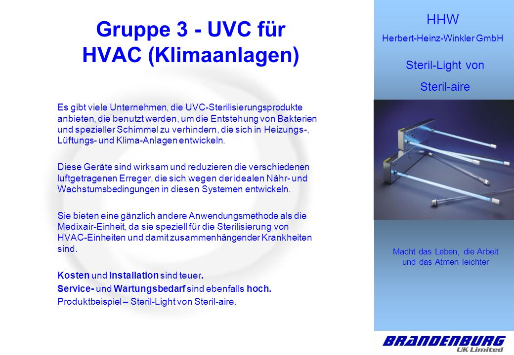 Gruppe 3 - UVC für HVAC (Klimaanlagen)
