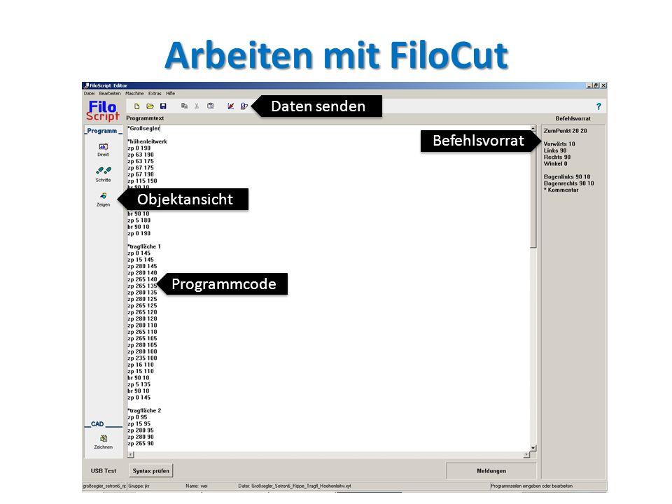 Arbeiten mit FiloCut Daten senden Befehlsvorrat Objektansicht