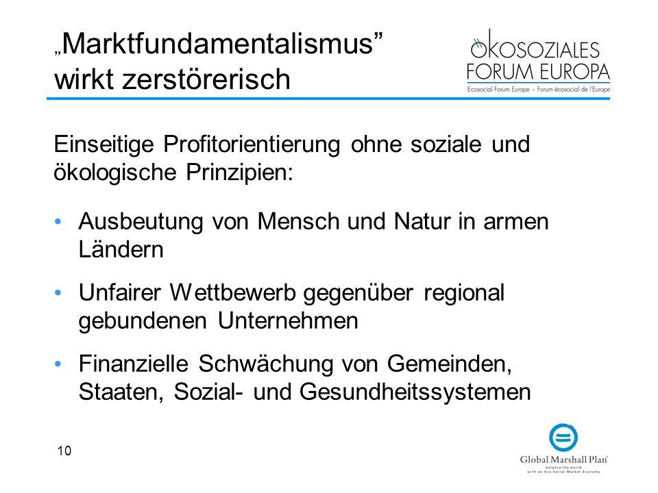 """""""Marktfundamentalismus wirkt zerstörerisch"""
