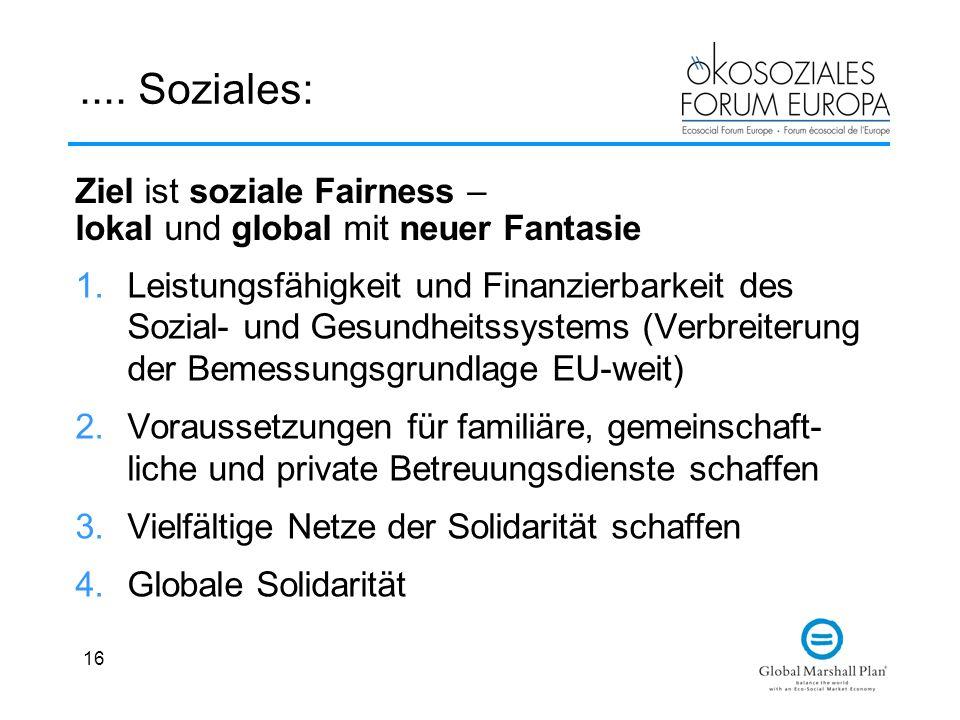 .... Soziales: Ziel ist soziale Fairness – lokal und global mit neuer Fantasie.
