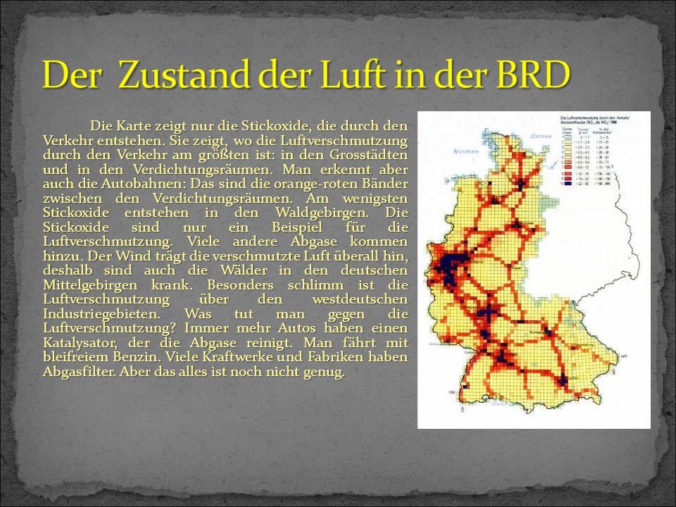 Die Karte zeigt nur die Stickoxide, die durch den Verkehr entstehen