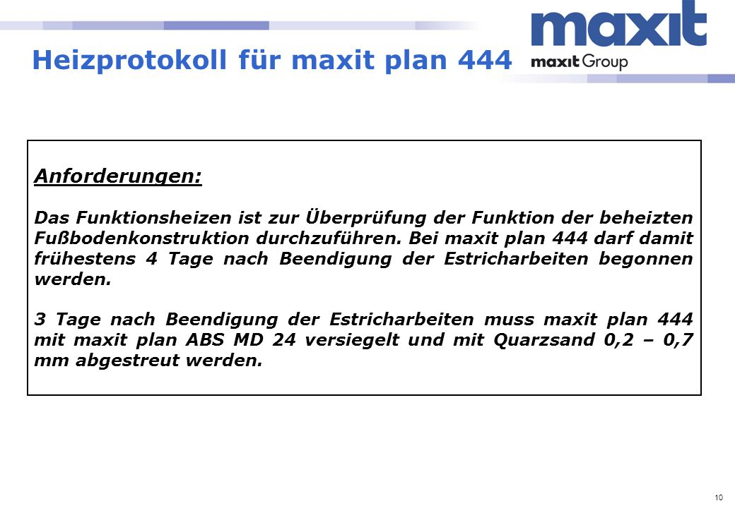Heizprotokoll für maxit plan 444
