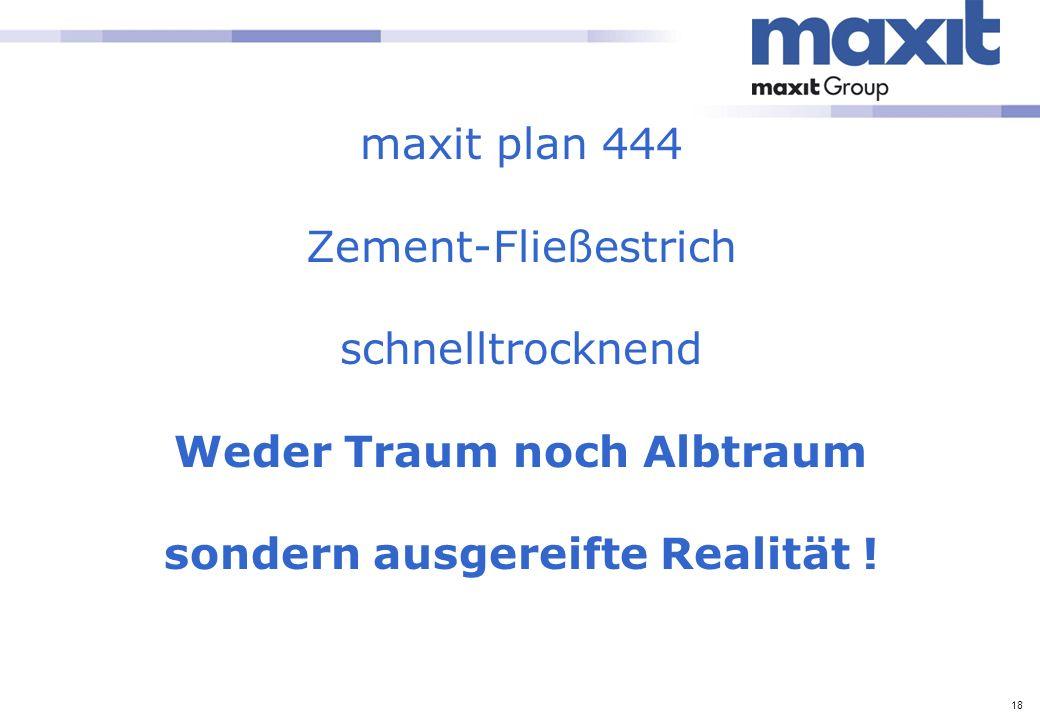 maxit plan 444 Zement-Fließestrich schnelltrocknend Weder Traum noch Albtraum sondern ausgereifte Realität !