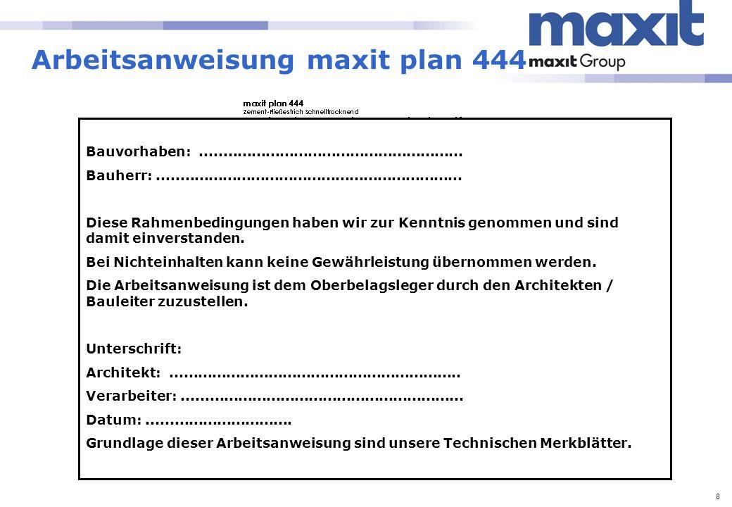 Arbeitsanweisung maxit plan 444
