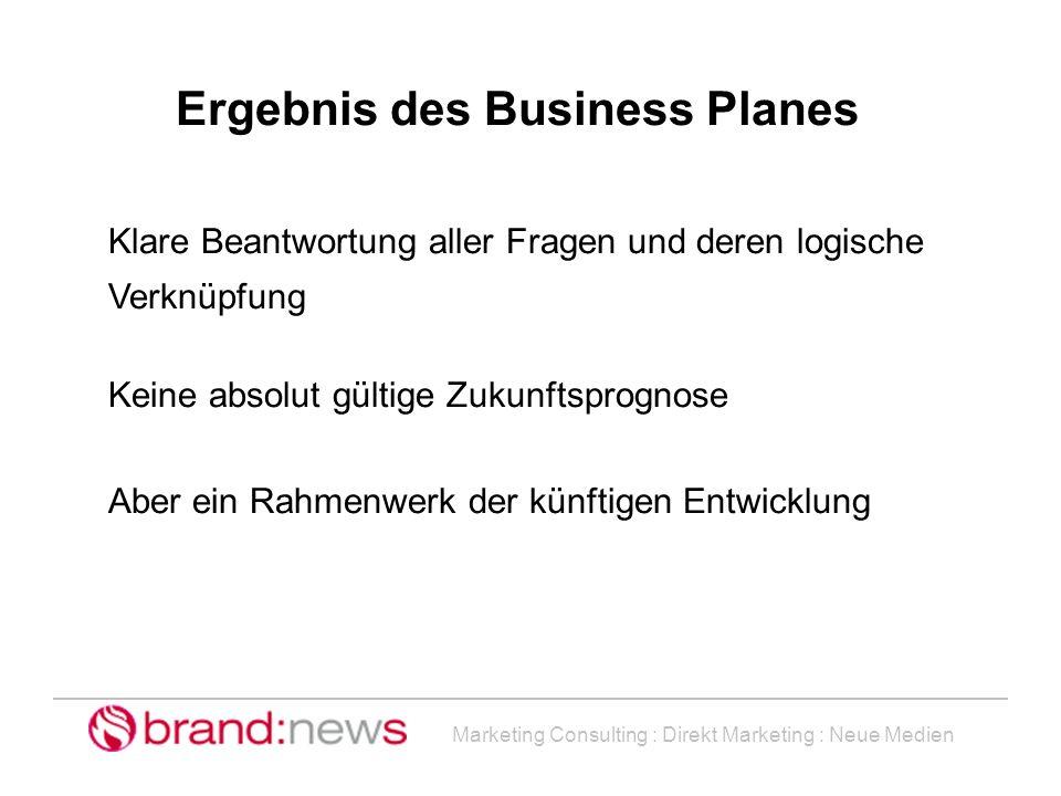 Ergebnis des Business Planes